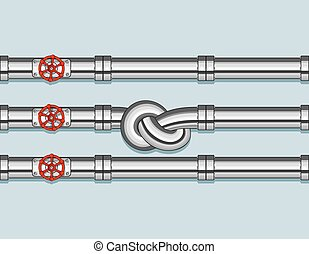 Pipeline with Three pipe and one Tied in a Knot
