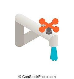 Pipeline with valve icon, isometric 3d style