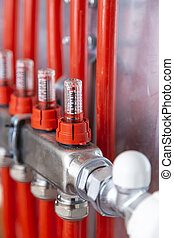 Pipelines in main control manifold of house heating system