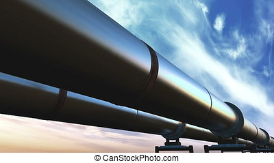 Pipelines loop perspective tracking, blue clouds