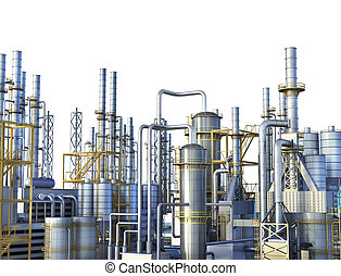 Pipelines of a oil and gas refinery industrial plant. 3d...