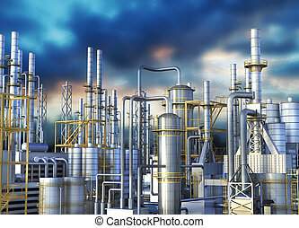 Pipelines of an oil refinery against the dark sky. 3d...