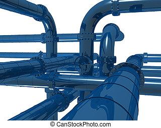 pipelines - 3d rendered illustration of metal pipelines