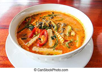 Piper sarmentosum leaves snail Curry ,Thai food.