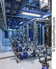 Pipes and colorful equipment in industrial boiler or RO room