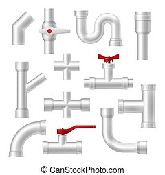 Pipes and plumbing fittings vector set