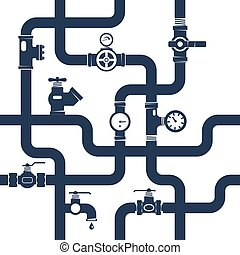 Pipes System Concept. Pipes Vector Illustration. Pipes Black White Flat Symbols. Pipes Black Design Set. Pipes System Decorative Elements.