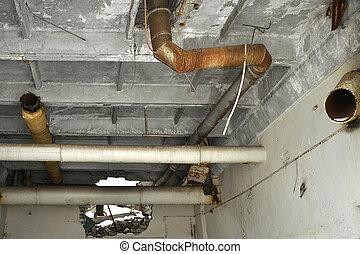 pipes., forma, maradványok, fém, lerombol, híradástechnika, berozsdásodott, kanális