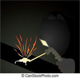 pipes., ilustración, lleva, vector, soldador, soldadura, ...