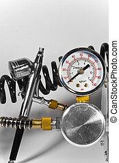 pipes., métal, pression atmosphérique, jauge, brosse, brillant