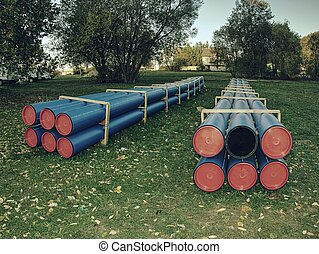 Pipes of PVC large diameter prepared for laying