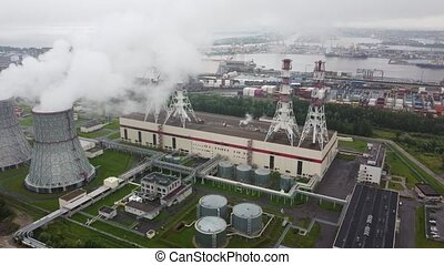 Pipes of the thermal power plant.aerial video