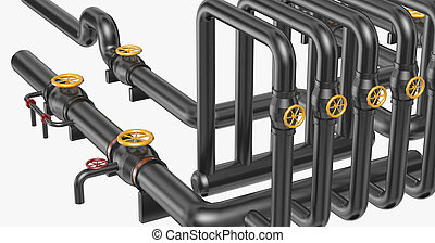 Pipes on white background.3D Rendering