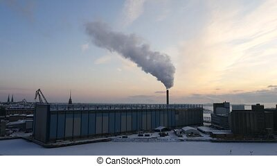 Pipes power on Helsinki in winter morning