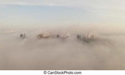 pipes., shooted, drone., industriel, cheminée, aérien,...