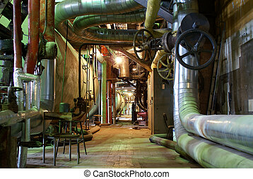 Pipes, tubes, machinery and steam turbine at a power plant