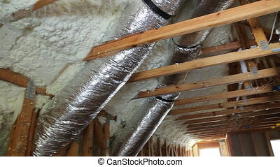 pipes, valves close up installation of heating system on the roof of the pipe house heating system