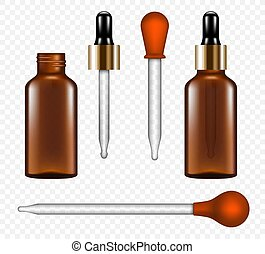 Pipette icon set, realistic style