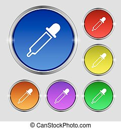 Pipette icon sign. Round symbol on bright colourful buttons. Vector