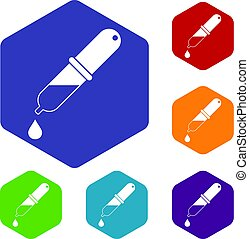 Pipette icons set hexagon
