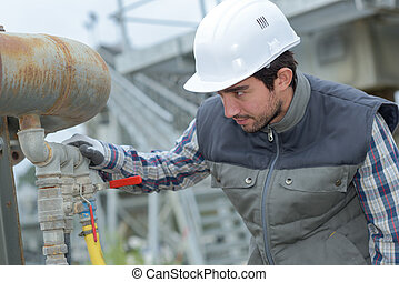pipework, inspection, homme