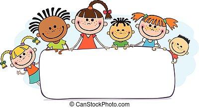 pipiando, niños, cartel, ilustración, atrás