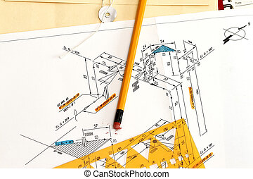 Piping And Instrument Diagram with pencil and envelope.