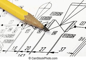 Piping diagram - close-up shot of piping diagram with...