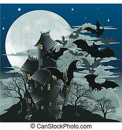 pipistrelli, casa, frequentato, illustrazione