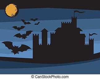 pipistrelli, castello, volare, vecchio