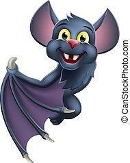 pipistrello, halloween, carattere, vampiro, segno, cartone animato