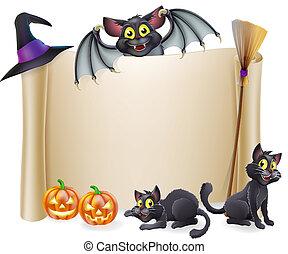 pipistrello, halloween, rotolo, segno