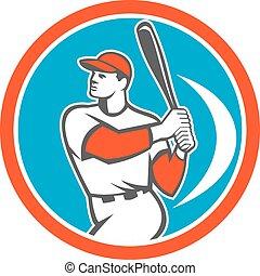 pipistrello, hitter, baseball, retro, pastella, cerchio