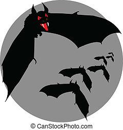pipistrello, mosca, vettore, silhouette