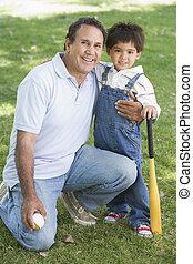 pipistrello, nipote, nonno, baseball, presa a terra, sorridente