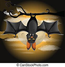 pipistrello, ramo, appendere
