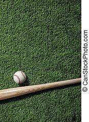 pipistrello, verde, alto, torba, baseball, vista