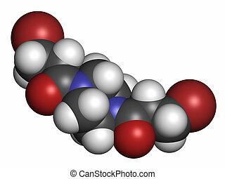 Pipobroman cancer chemotherapy drug molecule. Atoms are...