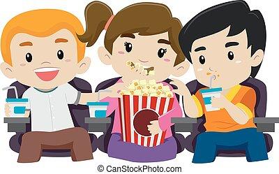 pipoca, filme, crianças comendo, observar