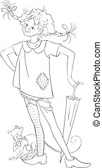 Pippi longstocking with pet monkey Coloring page