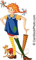 Pippi longstocking with pet monkey