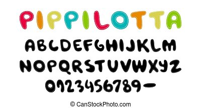 Pippilotta. Hand written display color font Kid style. ABC. Stitched, patched, Decorative funny colored Vector alphabet