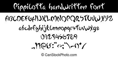 Pippilotta. Hand written hand written black font, curved ...