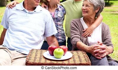 pique-nique, avoir, grands-parents, petits-enfants