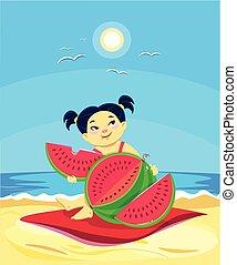 pique-nique, caractère, dessin animé, pastèque, girl, manger