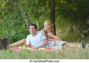 pique-nique, couple, parc