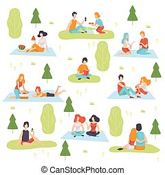 pique-nique, délassant, gens, ensemble, hommes, jeune, illustration, vecteur, avoir, nature, femmes