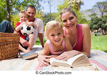 pique-nique, elle, mère, fille, nappe, lecture, mensonge