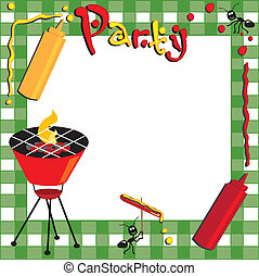 pique-nique, et, barbecue, invitation