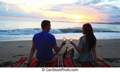 pique-nique famille, avoir, plage